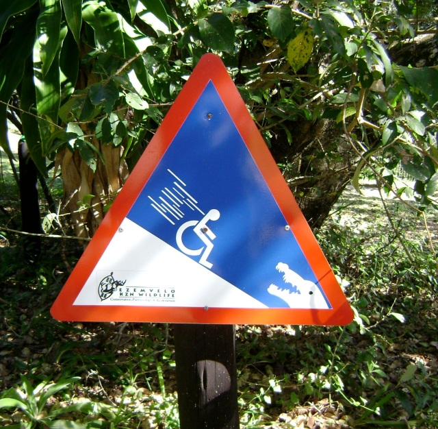 Yes, this is a warning sign that your wheelchair might roll into a pit of crocodiles.