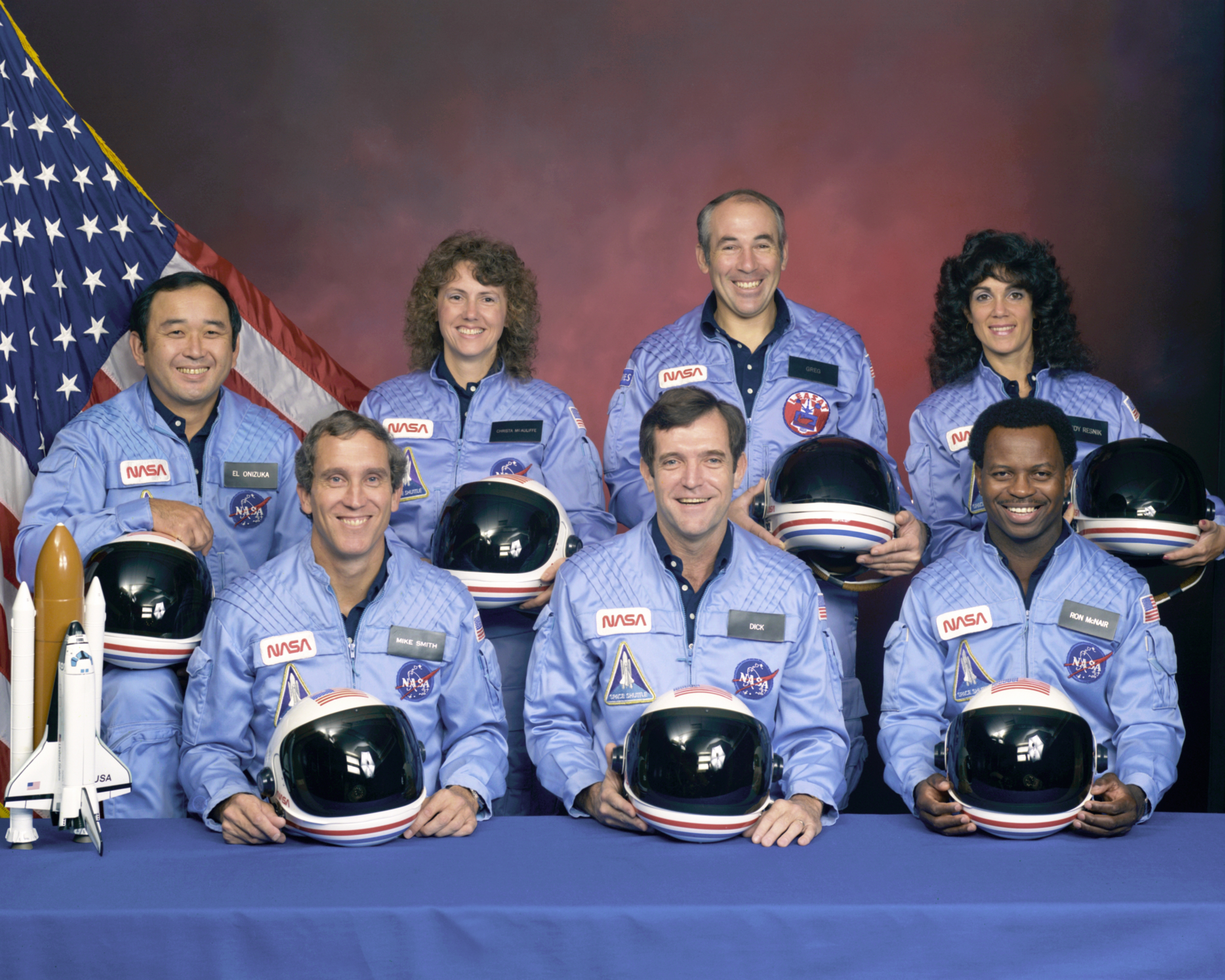 The crew of mission STS-51L: Francis R. Scobee, Michael J. Smith, Judith A. Resnik, Ellison S. Onizuka, Ronald E. McNair, Gregory B. Jarvis and Sharon Christa McAuliffe.  Image from NASA