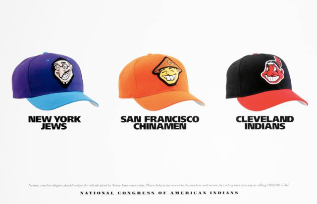 There are three baseball hats with racist logos, of the New York Jews, San Francisco Chinamen, and Cleveland Indians